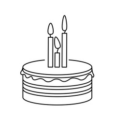 silhouette party cake with canddles icon vector image vector image