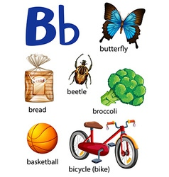 Things that start with the letter B vector image