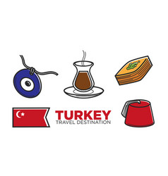 Turkey tourist travel and turkish culture vector