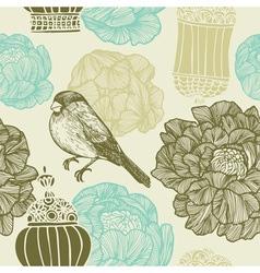 Vintage bird floral pattern vector