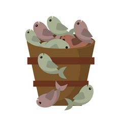Wooden bucket fish multiplication miracle vector