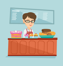 Worker standing behind the counter in the bakery vector