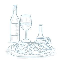 Dinner with wine and pizza vector