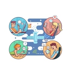 Communication people at distance vector image