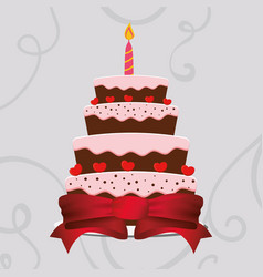 Sweet cake birthday wrapped ribbon heart vector