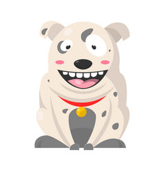 Big smiling bulldog with grey spots huge eyes vector