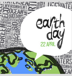 earth day 22 april graphics text in speech vector image