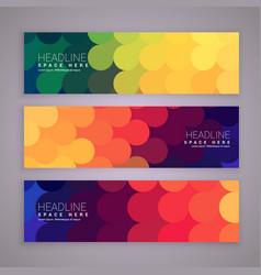 Abstract style banners set with colorful circles vector
