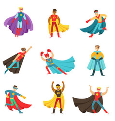 Male superheroes in classic comics costumes with vector