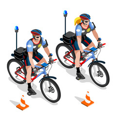 Police bicycle vehicle police man and woman cops vector