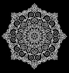 A circular pattern with flowers from lace vector