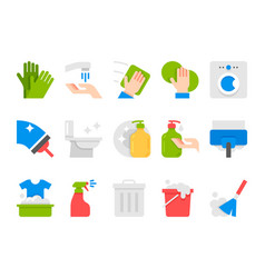 Flat cleaning set icons cleaning tools vector