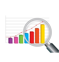 Zoom magnifying glass and colorful graph vector