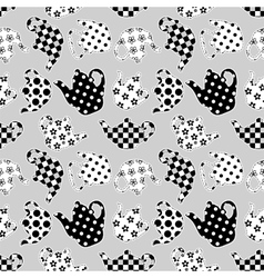Teapots black and white patchwork seamless pattern vector