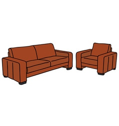 Sofa and armchair vector
