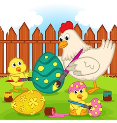 Chicken and chicks painting easter egg vector