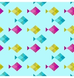 Blue geometric seamless background swimming fish vector