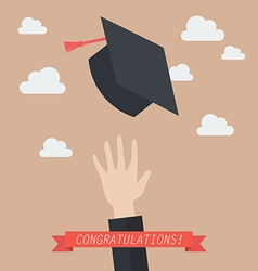 Hand of graduate throwing graduation hats in the vector