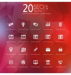Seo 1 icons on bright blurred background vector