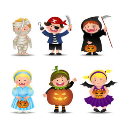 Cartoon cute halloween kids in trick or treat vector