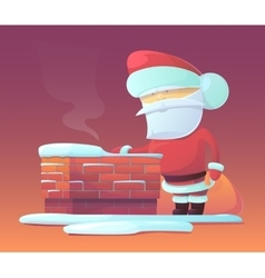 Santa claus near chimney vector