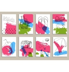 Greeting card set cute retro sea vector