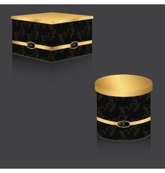 Vip box with gold lid and vintage background vector
