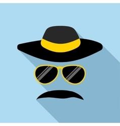 Detective incognito icon flat style vector