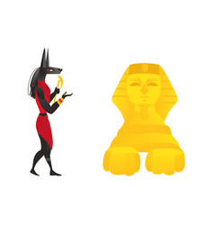 anubis ancient egypt god and egyptian sphinx vector image