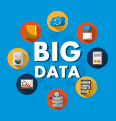 big data server search cloud folder file security vector image