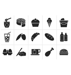 Black Dairy Products - Food and Drink icons vector image vector image
