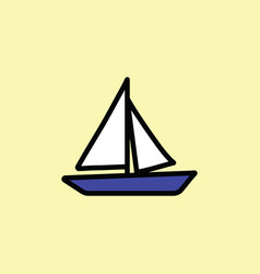boat icon thin line color vector image