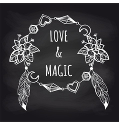 Boho chalkboard banner with wreath vector