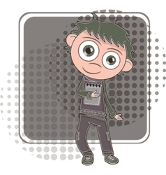 boy with notebook vector image vector image