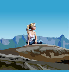 Cartoon woman looking into the distance sitting vector