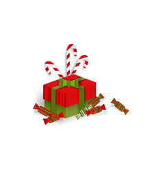 christmas gift present box candies candy canes vector image