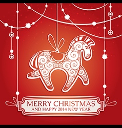 Christmas greeting card with horse vector image