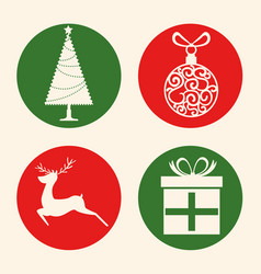 christmas holiday icons vector image vector image