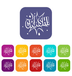 Crash explosion icons set flat vector