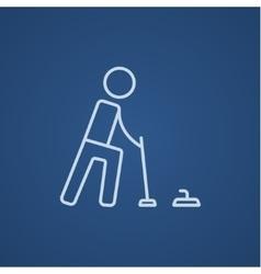 Curling line icon vector