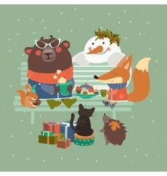 Cute animals celebrating Christmas vector image vector image