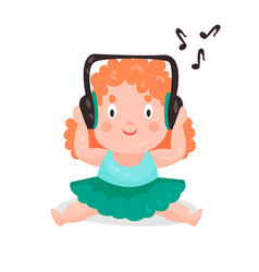 Cute cartoon little girl sitting and listening vector