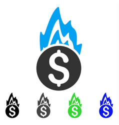 Fire damage flat icon vector