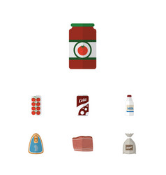 Flat icon food set of bottle sack fizzy drink vector