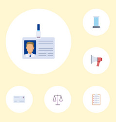flat icons id card office libra and other vector image vector image