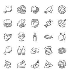 food and vegetables doodles set vector image
