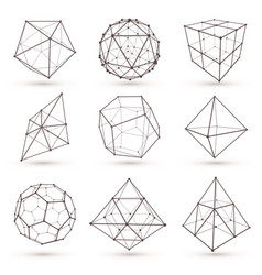 Geometric 3d objects vector