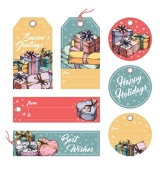 Greeting tags and labels vector image vector image