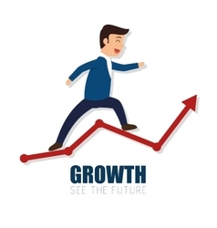growth arrow success business man vector image