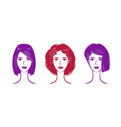 hairdressing salon makeup logo portrait of vector image vector image